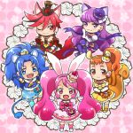 5girls :3 :d ;) animal_ears arisugawa_himari blue_eyes blue_gloves blue_hair cat_ears cat_tail chibi cure_chocolat cure_custard cure_gelato cure_macaron cure_whip dog_ears dog_tail dress earrings extra_ears fangs food_themed_hair_ornament gloves hair_ornament hat jewelry kenjou_akira kirakira_precure_a_la_mode kotozume_yukari kurarin lion_ears lion_tail magical_girl multiple_girls one_eye_closed open_mouth orange_eyes orange_hair pink_eyes pink_hair ponytail precure purple_hair rabbit_ears red_eyes redhead side_ponytail smile squirrel_ears squirrel_tail tail tategami_aoi top_hat twintails usami_ichika violet_eyes white_gloves