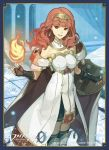 1girl arm_guards bangs bare_shoulders breasts celica_(fire_emblem) company_connection company_name detached_collar dress earrings elbow_gloves fingerless_gloves fire fire_emblem fire_emblem_cipher fire_emblem_echoes:_mou_hitori_no_eiyuuou gloves hair_ornament jewelry logo long_hair magic medium_breasts official_art outdoors red_eyes redhead shield smile solo thigh-highs zettai_ryouiki