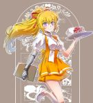 1girl anna_miller apron blonde_hair blouse cake commentary_request cup food hairband iesupa mug name_tag prosthesis prosthetic_arm rwby shoes smile solo tray violet_eyes waitress white_blouse yang_xiao_long