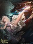 1girl absurdres battle blonde_hair blue_eyes commentary dong-wook_shin dress highres kicking legend_of_the_cryptids lips long_hair mage nose off-shoulder_dress off_shoulder princess princess_rodes realistic solo_focus tiara