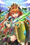 >:o 1girl :o armor blue_sky braid brown_hair character_request clouds copyright_request flag glowing glowing_sword glowing_weapon green_eyes hair_ornament jewelry legs_apart long_hair looking_at_viewer mole mole_under_eye mvv ring shield sky solo sword thigh-highs twin_braids vambraces very_long_hair weapon
