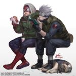artist_name black_gloves book chin_rest crossover dog drink drinking_straw eating fingerless_gloves food forehead_protector gloves grass hatake_kakashi headband hood in-hyuk_lee invisible_chair jacket kfc marvel muscle naruto open_toe_shoes pakkun pouch reading sandwich scar scar_across_eye shoes signature silver_hair sitting sleeping spider-man spider-man_(series) superhero vest watermark web_address