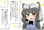 1girl :d =3 animal_ears black_hair blush_stickers brown_eyes clenched_hands commentary_request common_raccoon_(kemono_friends) fang fur_trim kemono_friends kisaragi_kaya multicolored_hair open_mouth raccoon_ears raccoon_tail short_sleeves silver_hair smile solo tail translation_request