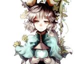 1girl animal_ears bishamonten's_pagoda blouse brown_eyes capelet carrying looking_at_viewer mouse_ears nazrin plant sasurai_susuki short_hair silver_hair simple_background solo touhou upper_body vines white_background