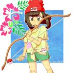 >:( 1girl arrow artist_name bangs bare_arms beanie black_eyes black_hair bow_(weapon) closed_mouth collarbone cowboy_shot female_protagonist_(pokemon_sm) floral_print flower frown green_shorts hat hibiscus holding holding_bow_(weapon) holding_weapon leaf moon_(pokemon) outline poke_ball_theme pokemon pokemon_special red_hat shirt short_hair short_sleeves shorts solo standing sugawalaya swept_bangs tied_shirt weapon yellow_shirt