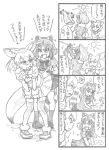 !? 2girls 4koma animal_ears bbb_(friskuser) blush bow clothes_pin clothesline comic commentary_request common_raccoon_(kemono_friends) fennec_(kemono_friends) fox_ears fox_tail fur_trim gloves hands_on_hips highres kemono_friends multiple_girls open_mouth pleated_skirt puffy_short_sleeves puffy_sleeves raccoon_ears raccoon_tail shirt short_sleeves skirt skirt_hold skirt_lift socks spoken_interrobang sun sweatdrop sweater t-shirt tail thigh-highs translation_request washing