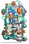 1girl blue_eyes blue_hair bound bound_ankles bound_wrists chains character_request collar cuffs eyebrows_visible_through_hair glowing glowing_veins hairband long_hair mataichi_matarou pliers restrained shackles shoe_dangle stationary_restraints sweatdrop tied_up torn_clothes tube twintails very_long_hair yuba_no_shirushi