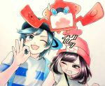 1boy 1girl ;3 ;d backpack bag bangs baseball_cap beanie black_eyes black_hair black_hat blush bob_cut eyelashes eyes_visible_through_hair female_protagonist_(pokemon_sm) floral_print handbag hat horizontal_stripes looking_at_another looking_to_the_side looking_up minapo moon_(pokemon) motion_lines ok_sign one_eye_closed open_mouth poke_ball_theme pokedex pokemon pokemon_(creature) pokemon_special red_hat rotom shirt short_hair short_sleeves sideways_hat simple_background smile strap striped striped_shirt sun_(pokemon) sweatdrop swept_bangs t-shirt traditional_media upper_body watercolor_(medium) white_background yellow_shirt