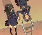 2girls hand_holding kajiki_yumi ladder lying multiple_girls on_back saki school_uniform touyoko_momoko tsuruga_school_uniform una_(mazinger)