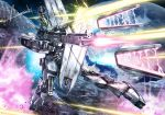 axis_(gundam) battle beam_rifle blocking char's_counterattack earth energy_gun explosion fin_funnels firing funnels gundam mecha no_humans nu_gundam scratches shield signature space wa-kun war weapon