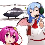 >:) ... 2girls :o =_= aircraft ascot bat_wings blue_hair blush book commentary_request empty_eyes fang hairband headset heart helicopter holding holding_book kameyan komeiji_satori multiple_girls pink_eyes pink_hair remilia_scarlet short_hair simple_background sparkle third_eye thumbs_up touhou translation_request white_background wings