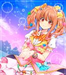 1girl :3 bangs belt bow bracelet cielo_oceano hair_bow hair_ornament idolmaster idolmaster_cinderella_girls jewelry moroboshi_kirari orange_hair puffy_short_sleeves puffy_sleeves red_eyes short_sleeves sky solo star star_hair_ornament twintails wonderful_magic
