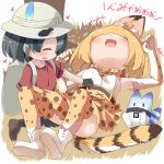 +++ 2girls :d animal_ears backpack bag belly_rub black_gloves black_hair blonde_hair blush bow bowtie bucket_hat commentary_request elbow_gloves gloves hat hat_feather heart high-waist_skirt highres kaban_(kemono_friends) kemono_friends lucky_beast_(kemono_friends) lying makuran multiple_girls on_back on_ground open_mouth print_bowtie print_legwear print_skirt red_shirt serval_(kemono_friends) serval_ears serval_print serval_tail shirt short_hair skirt sleeveless sleeveless_shirt smile striped_tail tail thigh-highs