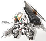 armor beam_rifle char's_counterattack character_name chibi energy_gun english fin_funnels full_armor green_eyes gundam karukan_(monjya) mecha no_humans nu_gundam_hws sd_gundam shield