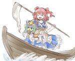 2girls black_eyes blush breasts canoe carrying_under_arm chibi cleavage closed_eyes covering_mouth green_hair hair_bobbles hair_ornament hat medium_breasts multiple_girls nibi obi onozuka_komachi open_mouth over_shoulder redhead robe rod_of_remorse sash scythe shiki_eiki short_hair short_sleeves short_twintails simple_background sketch skirt smile touhou twintails water weapon weapon_over_shoulder white_background wide_sleeves