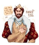 1boy beard brown_hair burger_king cropped_torso crown facial_hair highres jewelry laughing male_focus mustache necklace ozumii ring simple_background smile solo the_king white_background
