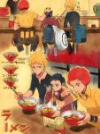 3boys afro bag black_jeans blonde_hair chopsticks denji_(pokemon) eating food hand_on_another's_head kouki_(pokemon) multiple_boys noodles nuku ooba_(pokemon) pokemon pokemon_(game) pokemon_dppt ramen redhead short_hair short_sleeves spiky_hair
