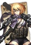 1girl assault_rifle blonde_hair blood blood_on_face breasts cleavage commentary earrings fingerless_gloves gloves gun headband hetza_(hellshock) jacket jewelry looking_at_viewer mac-10 magazine_pouch medium_breasts metal_max open_clothes open_jacket pouch purple_jacket purple_scarf red_eyes rifle rocket_launcher sarashi scarf short_hair shoulder_pads sling_(weapon) soldier_(metal_max) submachine_gun weapon zipper
