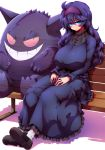 1girl @_@ ahoge bags_under_eyes bench blush breasts dress frown gengar ghost grin hairband hands_on_lap hex_maniac_(pokemon) highres huge_breasts long_hair messy_hair pantyhose plump pokemon pokemon_(creature) pokemon_(game) pokemon_xy purple_hair red_eyes sitting smile sweater tokyo_(great_akuta) translucent transparent violet_eyes wavy_mouth white_legwear