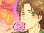! 1boy blush brown_hair candy carlos_oliveira copyright_name food green_eyes happy_halloween heart mad_packer male_focus portrait pumpkin resident_evil resident_evil_3 star tongue tongue_out