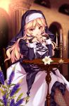 1girl bangs black_dress blonde_hair blurry breast_rest breasts bridal_gauntlets candle candlelight candlestand commentary_request depth_of_field dress fishnet_legwear fishnets flower flower_knight_girl habit hair_ribbon highres interlocked_fingers large_breasts long_hair long_sleeves looking_at_viewer moneti_(daifuku) nail_polish nun parted_lips purple_nails purple_ribbon red_eyes ribbon sitting smile solo tress_ribbon veronica_(flower_knight_girl)