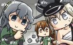 3girls bismarck_(kantai_collection) brown_eyes brown_hair commentary dated dice eating fumizuki_(kantai_collection) gambling grey_eyes hamu_koutarou hat highres japanese_clothes kaiji kantai_collection kimono long_hair military_hat multiple_girls peaked_cap sarashi shaded_face silver_hair skewer sweat wavy_hair yamagumo_(kantai_collection)