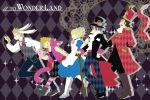 1girl 4boys alice_(wonderland) alice_(wonderland)_(cosplay) alice_in_wonderland animal_ears argyle argyle_background blue_dress cane cat_ears cheshire_cat cheshire_cat_(cosplay) cosplay dress final_fantasy final_fantasy_xv gladiolus_amicitia gloves hat ignis_scientia kigurumi lunafreya_nox_fleuret mad_hatter mad_hatter_(cosplay) mi_jinko multiple_boys noctis_lucis_caelum paw_gloves paws pocket_watch prompto_argentum queen_of_hearts queen_of_hearts_(cosplay) rabbit_ears top_hat watch white_rabbit white_rabbit_(cosplay)