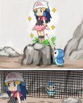 1girl beanie blue_eyes blue_hair boots fence grape-kun hat hikari_(pokemon) kemono_friends pink_boots piplup pokemoa pokemon pokemon_(creature) pokemon_(game) pokemon_dppt scarf skirt sparkle