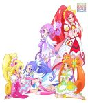 5girls blonde_hair blue_hair cure_ace cure_diamond cure_heart cure_rosetta cure_sword dokidoki!_precure eye_contact kamikita_futago looking_at_another multiple_girls orange_hair ponytail precure purple_hair redhead sitting smile standing twintails yuri
