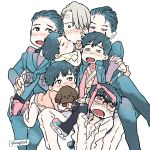 6+boys =_= black_hair blush child closed_eyes dog drooling eugenio2nd gloves hair_over_one_eye hand_holding hand_on_another's_hip ice_skates jewelry katsuki_yuuri legs_crossed male_focus medal multiple_boys multiple_persona necktie necktie_on_head open_mouth ring scarf silver_hair sitting sitting_on_lap sitting_on_person skates smile vicchan viktor_nikiforov younger yuri!!!_on_ice