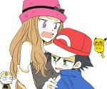 1boy 1girl atsumi_yoshioka black_hair blush brown_hair cosplay eureka_(pokemon) eureka_(pokemon)_(cosplay) green_eyes hat inkay kojirou_(pokemon) meowth musashi_(pokemon) pikachu pikachu_(cosplay) pokemon satoshi_(pokemon) satoshi_(pokemon)_(cosplay) serena_(pokemon) serena_(pokemon)_(cosplay) team_rocket violet_eyes