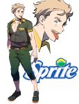 1boy full_body glasses_enthusiast highres logo personification solo sprite_(drink) standing