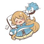 1girl :d blonde_hair blue_dress blush_stickers cellphone character_request charlotta_(granblue_fantasy) chibi closed_eyes crossover dratini dress from_above full_body long_hair looking_at_another lying motion_lines o_(rakkasei) on_back open_mouth outstretched_arms phone pillow pointy_ears pokemon pokemon_(creature) pokemon_go puffy_short_sleeves puffy_sleeves short_sleeves sleeping smartphone smile solid_oval_eyes spread_arms very_long_hair white_background