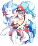 1girl absurdres beanie blue_eyes blush breasts bubble cleavage cosplay female_protagonist_(pokemon_sm) female_protagonist_(pokemon_sm)_(cosplay) floral_print grey_hair hat highres looking_at_viewer love_live! love_live!_sunshine!! medium_breasts one_eye_closed poke_ball pokemon pokemon_(game) pokemon_sm primarina red_hat salute shirt short_hair short_shorts short_sleeves shorts smile solo t-shirt tied_shirt tipii watanabe_you z-ring