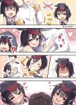 !? >_< /\/\/\ 1boy 2girls :d =_= admiral_(kantai_collection) alcohol asymmetrical_hair beer beer_mug black_hair blush brown_eyes closed_eyes clothes_grab comic commentary drinking drunk flying_sweatdrops framed_breasts gloves hair_between_eyes hat heart heart-shaped_pupils highres i-13_(kantai_collection) i-14_(kantai_collection) kantai_collection looking_at_viewer military military_uniform multiple_girls musical_note naval_uniform neckerchief open_mouth partly_fingerless_gloves sailor_collar school_swimsuit short_hair single_glove sisters sleeveless smile soramuko spoken_musical_note sweatdrop swimsuit symbol-shaped_pupils trembling tsurime twins twitter_username uniform