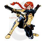 1girl 90s bodysuit boots bow_(weapon) crossbow darthzara fighting_stance g.i._joe gloves oldschool ponytail redhead scarlett scarlett_(g.i._joe) uniform vest watermark weapon