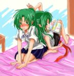 2girls barefoot bed blush casual diary green_eyes green_hair half_updo higurashi_no_naku_koro_ni long_hair multiple_girls ponytail ribbon school_uniform siblings sisters sonozaki_mion sonozaki_shion twins wahi