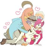 1boy 1girl atsumi_yoshioka blue_hair dress fedora glomp gourgeist hat hug inkay kojirou_(pokemon) meowth musashi_(pokemon) pink_hair pokemon pokemon_(anime) team_rocket wobbuffet