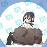 1girl bird blue_background blush chibi food holding holding_food humboldt_penguin humboldt_penguin_(kemono_friends) japari_symbol kemono_friends looking_at_another oyatsu_(mk2) penguin rock squatting text translation_request twitter_username yellow_eyes
