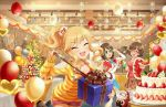 3girls :d ^_^ adjusting_glasses arm_up artist_request badge balloon bangs bare_shoulders bell bendy_straw blonde_hair blue-framed_eyewear blue_skirt blueberry blush bow box breasts brown_eyes brown_hair brown_shoes button_badge cake_decoration candle candlestand character_request christmas christmas_cake christmas_ornaments christmas_tree christmas_wreath cleavage closed_eyes coat collarbone cup cutoffs decoration_(idolmaster) dog_tags doily dot_nose drinking_glass drinking_straw eyebrows_visible_through_hair eyelashes facing_another facing_viewer flipped_hair food frilled_skirt frills fruit fur-trimmed_coat fur-trimmed_shawl fur_trim garland_(decoration) gift gift_box glasses glint green-framed_eyewear hair_ornament hair_scrunchie hairclip heart_balloon holding holding_drinking_glass holding_gift holding_plate holly horizontal_stripes idolmaster idolmaster_cinderella_girls indoors jewelry leaning_forward leg_up long_hair long_sleeves looking_at_another medium_breasts merry_christmas multiple_girls necklace off_shoulder official_art ootsuki_yui open_mouth orange-framed_eyewear paper_chain plaid plaid_ribbon plaid_skirt plate pleated_skirt pom_pom_(clothes) pulling raspberry red_bow red_coat red_shorts ribbon round_teeth scrunchie shawl shoes short_hair short_shorts shorts side_ponytail sidelocks skirt sleeves_past_wrists smile stage_lights standing standing_on_one_leg strawberry striped striped_bow striped_ribbon striped_sweater sweater swept_bangs table tablecloth teeth tray v-neck wavy_hair winter_clothes winter_coat yellow_sweater