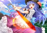 >:o 1girl :o bangs black_hat blue_hair blue_skirt blush clouds cloudy_sky day e.o. fang food frilled_skirt frills fruit hat hinanawi_tenshi holding holding_sword holding_weapon leaf long_hair looking_at_viewer open_mouth outdoors peach puffy_short_sleeves puffy_sleeves rainbow_order red_eyes shirt short_sleeves skirt sky solo sword sword_of_hisou touhou weapon white_shirt