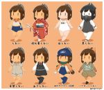 abyssal_twin_hime_(black) abyssal_twin_hime_(black)_(cosplay) alternate_costume arrow barefoot baseball baseball_glove brown_eyes brown_hair chibi commentary cosplay gas_mask hair_ribbon highres i-401_(kantai_collection) jacket japanese_clothes kantai_collection kimono maru-yu_(kantai_collection) maru-yu_(kantai_collection)_(cosplay) one-piece_swimsuit pale_skin pilot_suit ponytail ribbon sailor_collar scarf school_swimsuit shinkaisei-kan shirt short_sleeves shorts simple_background skirt swimsuit tan thigh-highs |_|