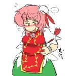 >:d 1girl :d bandaged_arm belly_grab blush breasts bun_cover chinese_clothes cuffs double_bun flower green_skirt ibaraki_kasen medium_breasts open_mouth pink_hair plump rose shackles skirt smile solo sweat tabard thick_eyebrows touhou weight_conscious yanagitaaaan