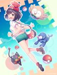 1girl ass back bag bare_legs beanie black_eyes black_hair blue_sky blush breasts closed_eyes female_protagonist_(pokemon_sm) floral_print from_behind green_shorts hat highres legs litten looking_back medium_breasts niwashi_(yuyu) open_mouth poke_ball pokemon pokemon_(creature) pokemon_(game) pokemon_sm popplio rowlet shirt shoes short_hair short_sleeves shorts sky smile solo twitter_username z-ring
