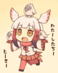 1girl :d animal animal_on_hand animal_on_head azuki_ron baby bangs bird bird_on_hand bird_on_head bird_tail bird_wings black_footwear blunt_bangs blush brown_eyes buttons character_name chibi collar crested_ibis drawstring eyebrows_visible_through_hair frilled_sleeves frills full_body fur_collar gloves gradient gradient_background gradient_hair head_wings japanese_crested_ibis_(kemono_friends) jitome kemono_friends leg_lift long_sleeves multicolored_hair no_nose on_head open_mouth outstretched_arms pantyhose pleated_skirt red_gloves red_legwear red_skirt redhead running shirt short_hair short_hair_with_long_locks sidelocks simple_background skirt smile spread_arms tail translated two-tone_hair white_hair white_shirt wide_sleeves wings yellow_background