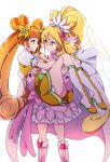 2girls aida_mana bare_shoulders blush boots brown_eyes brown_hair carrying choker cure_heart cure_rosetta dokidoki!_precure earrings heart heart_earrings jewelry long_hair looking_at_another magical_girl multiple_girls negom pink_eyes ponytail precure princess_carry simple_background smile very_long_hair white_background yotsuba_alice