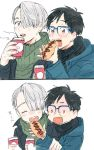 2boys :o arm_grab black_hair blue-framed_eyewear blue_eyes brown_eyes closed_eyes coffee_cup comic cup eating eko_(3193233) food food_theft glasses hair_over_one_eye holding holding_cup holding_food hot_dog jacket katsuki_yuuri long_sleeves male_focus multiple_boys open_mouth over-rim_glasses round_teeth scarf semi-rimless_glasses silver_hair smile sweater teeth turtleneck turtleneck_sweater viktor_nikiforov white_background winter_clothes yuri!!!_on_ice ||_||