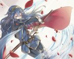 1girl blue_eyes blue_hair cape falchion_(fire_emblem) fire_emblem fire_emblem:_kakusei limitless_skye long_hair lucina simple_background solo sword weapon