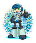 1boy android beck_(mighty_no._9) full_body hand_on_hip headphones highres male_focus mighty_no._9 open_mouth rangsiwut_sangwatsharakul smile solo thumbs_up