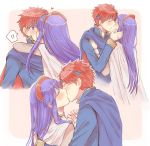 1boy 1girl armor blue_hair blush closed_eyes couple dress fire_emblem fire_emblem:_fuuin_no_tsurugi hat hetero kiss lilina long_hair redhead roy_(fire_emblem) short_hair simple_background wspread